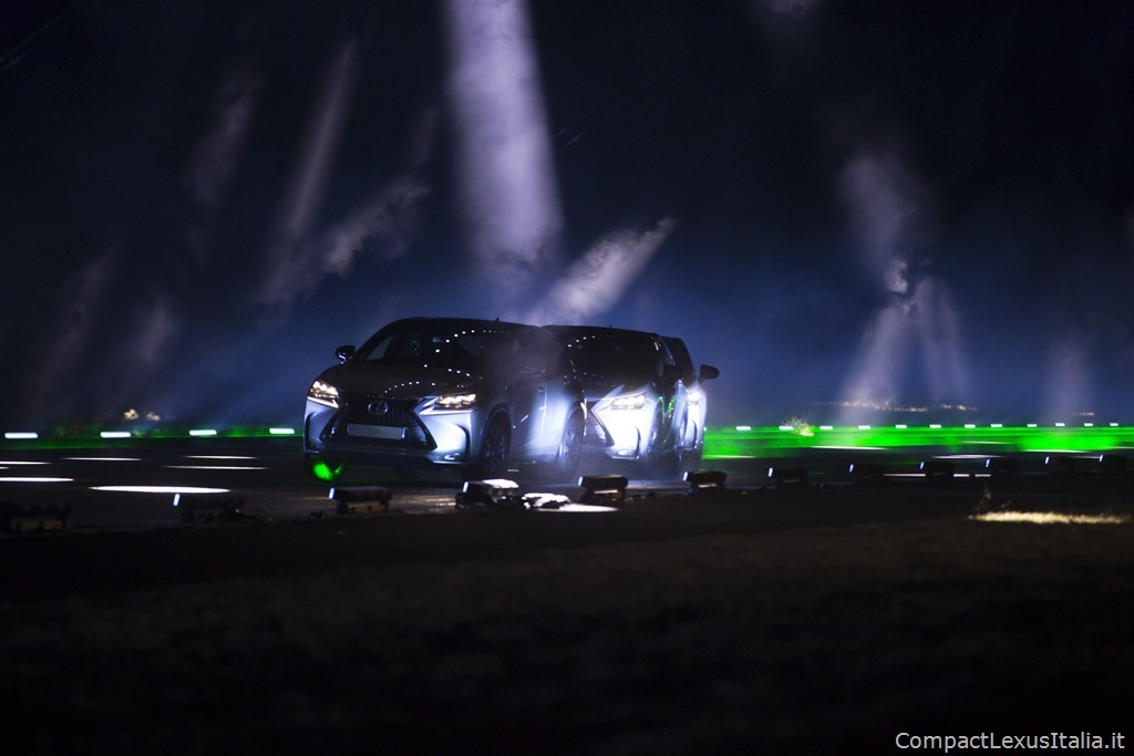 """Behind the scenes at the Lexus #NXontrack, an audio-visual film which sees will.i.am conduct three Lexus NX cars down a colossal """"sound road"""" to create an audio and visual remix of his iconic track #thatPOWER. You can watch the film here XX."""